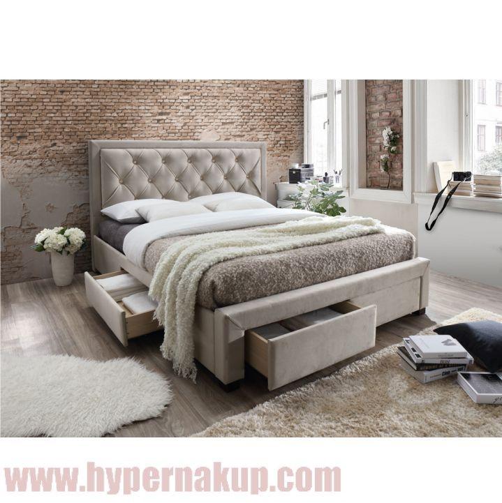 Manželská posteľ s roštom, 180x200, látka sivohnedá, OREA