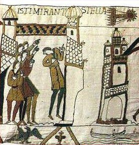 This portion of the Bayeux Tapestry shows Halley's Comet during its appearance in 1066. <br />
