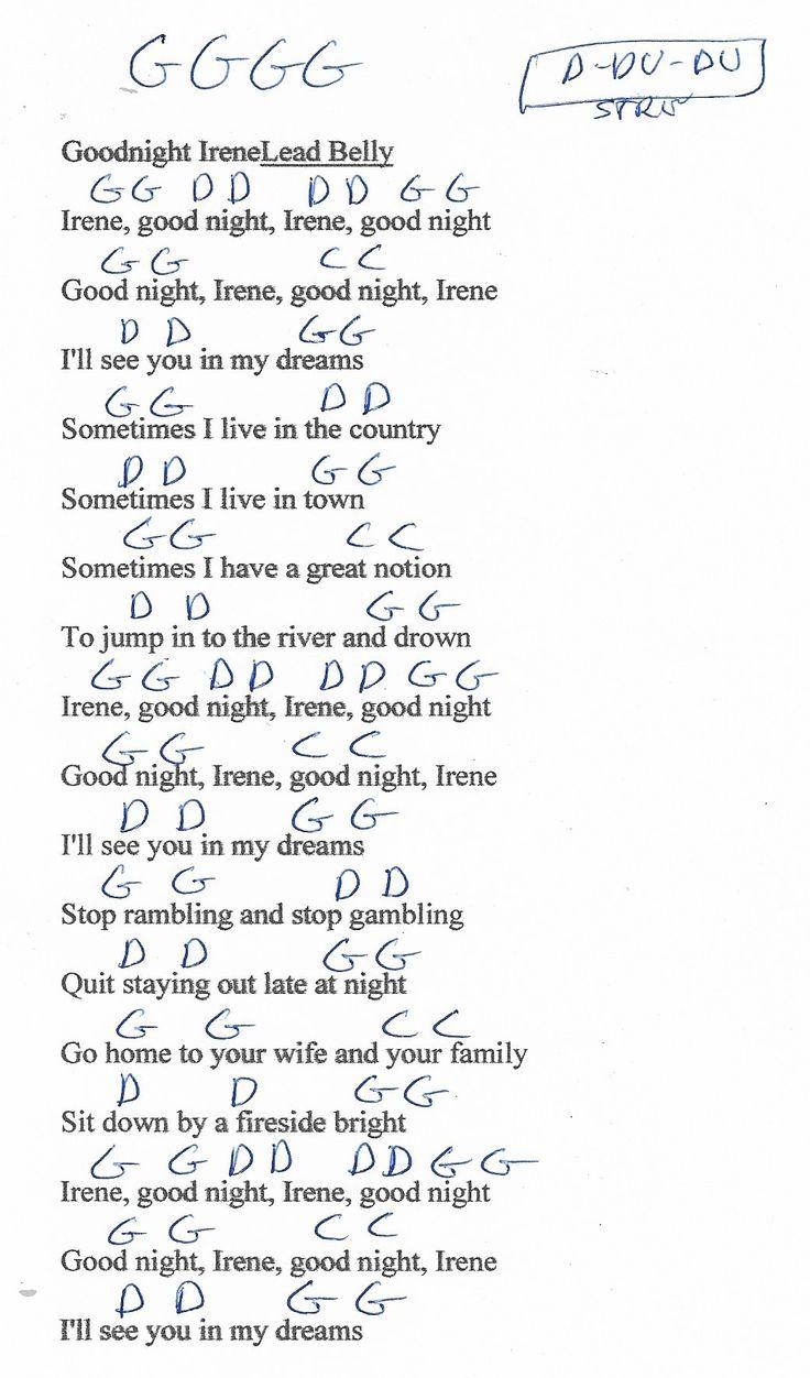 Goodnight Irene Guitar Chord Chart In G Major Clean Learn Guitar Songs Guitar Chord Chart Ukulele Chords Songs