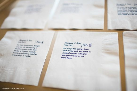 fun facts about bride and groom on the napkins - too cute!!!: Bride Grooms, Funny Facts, Cute Ideas, Fun Facts, The Bride, Funny Wedding Napkins, Cocktails Napkins, Napkins Ideas, Funfact