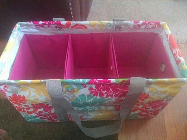 Three walmart or dollar store bins to divide large thirty-one utility tote