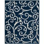 Cottage Indoor/Outdoor Navy/Cream (Blue/Ivory) 6 ft. 7 in. x 9 ft. 6 in. Area Rug