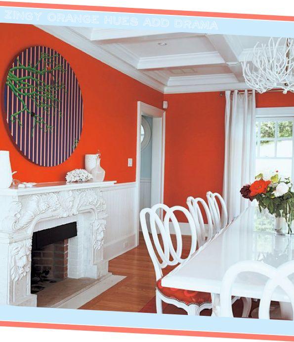 Vibrant Orange Walls Stark White