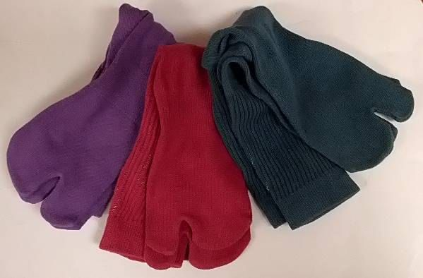 3 Pairs  Tall  Hand-Dyed Tabi Socks Dark Red, Dark Green and Purple by tabilady on Etsy