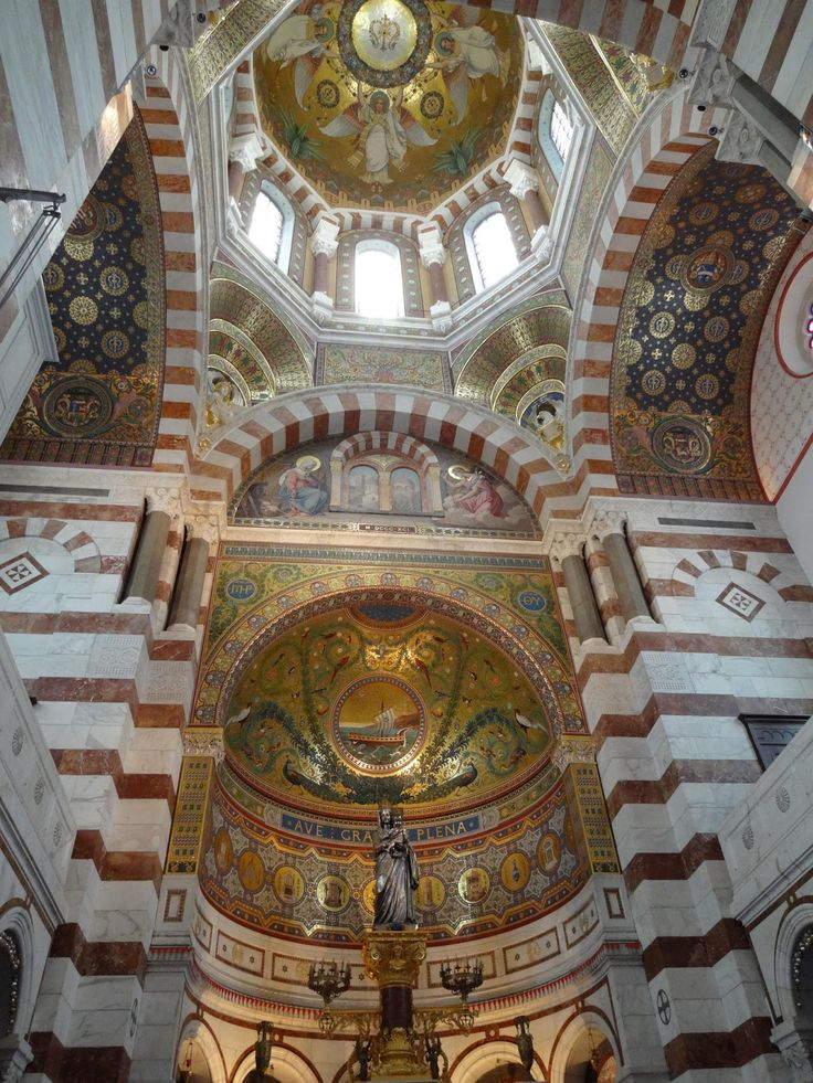 The inside of Notre-Dame de la Garde in Marseille