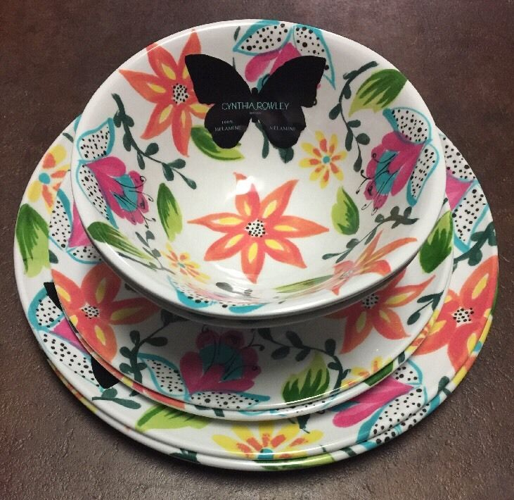 CYNTHIA ROWLEY NEW 6 PIECES MELAMINE DINNER WARE FLORAL SERVICE FOR 2  | eBay