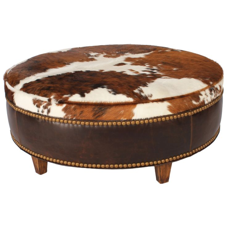 Ranch Collection Round Tricolor Cowhide Ottoman - 36 Inch - Best 25+ Cowhide Ottoman Ideas On Pinterest Southwestern
