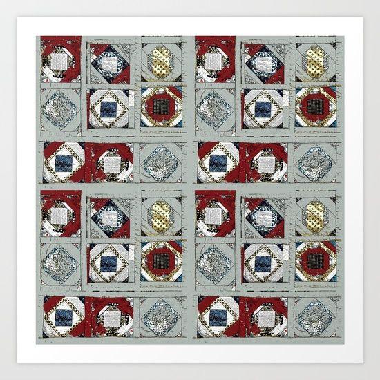 Mosaic in gray Art Print