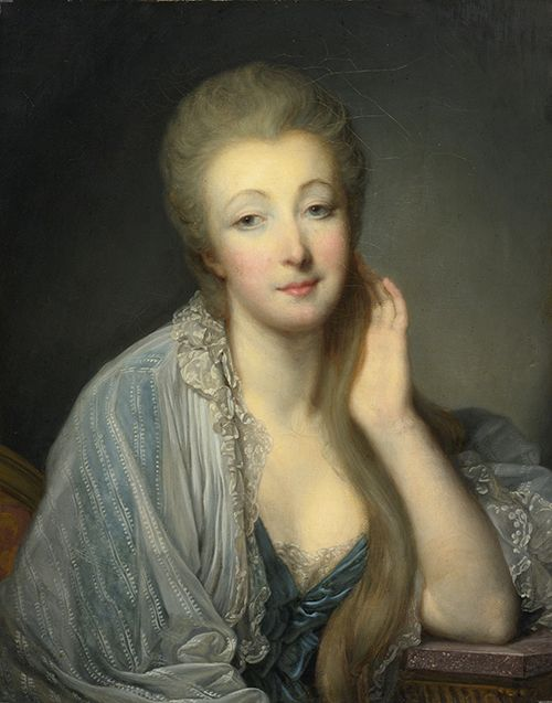A Greuze painting of Madame du Barry, mistress of Louis XV, in loose morning attire.