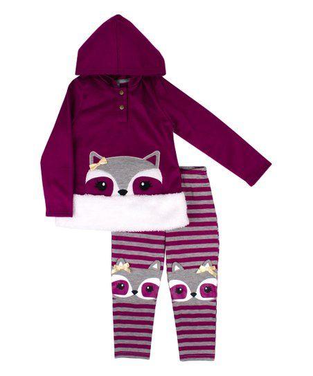 ecb8256dd9b1 Nannette Kids Wine Raccoon Hoodie   Stripe Legging Set - Newborn ...