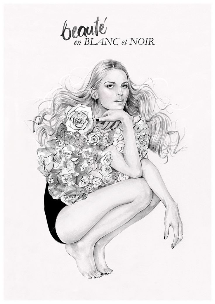 Fashion illustration - pretty florals, fashion drawing // Kelly Smith