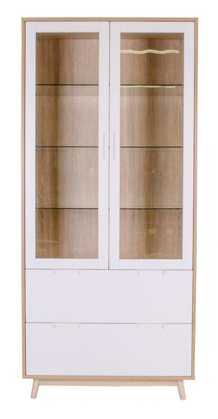 House Nordic Copenhagen vitriini, värivaihtoehtoina valkoinen/tammi ja valkoinen/musta