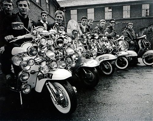 Mods with their scooters in Collyer Place...Peckham 1963.....