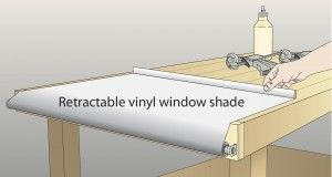 To keep my workbench free of paint and varnish spills as well as glue drips, I mounted a retractable vinyl window shade to one end. Before a messy operation, I pull the shade across the bench and clamp the end to the bench. Cleanup is a snap. I simply let