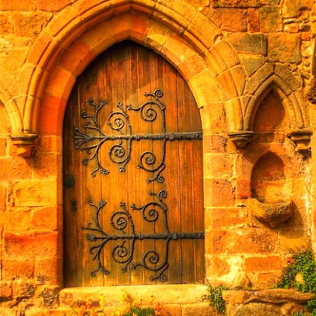 Beautiful old gothic door.