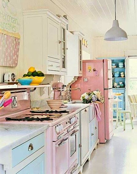 Ooohhhhh I want to hug this kitchen!!    (vintage pastel kitchen pinks teals and white splash of yellow and hot pink... )