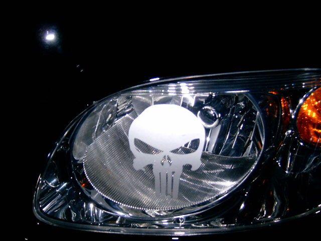 Dodge RAM HEAD LIGHT Taillight sticker ETCHED DECALS 19 PUNISHER SKULLS PAIR