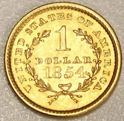 1854 USA $1.00 Gold AU-58 Re Engraving On Obverse and Reverse on eBay right now - Vancouvercoins