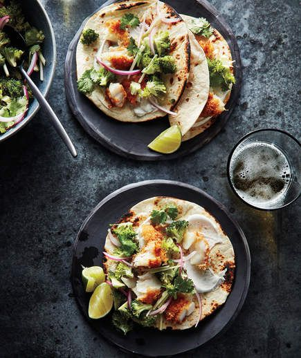 Fish Tacos With Broccoli Slaw and Cumin Sour Cream - a quick hack using frozen fish sticks/filets