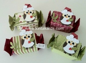 Candy Wrapper Christmas Owl Treat Box x 4 Punch Art Stampin Up Jolly Holiday Kit