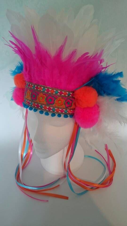 Feather headdress colorful festival headdress by neonpandalondon