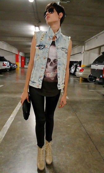 Oxo Platform Shoes, Zara Vest, Zara T Shirt, Faux Leather Leggins, Zara Sunglasses