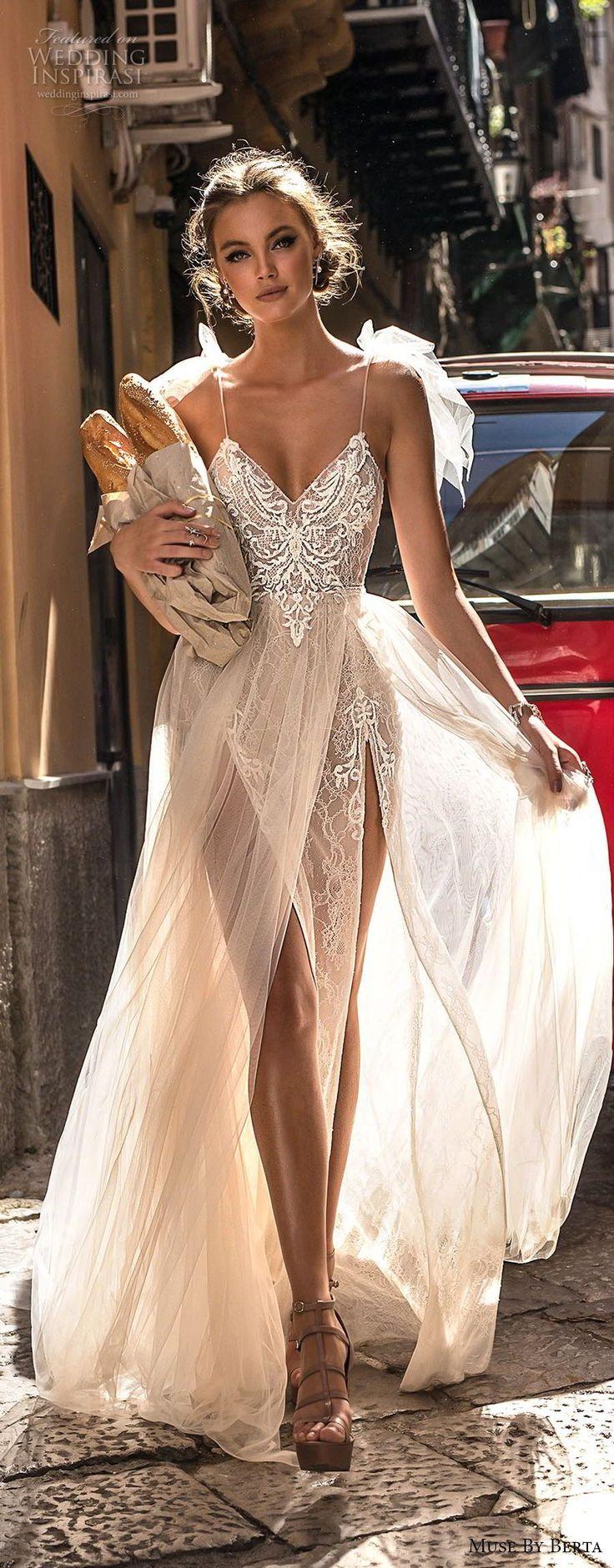 muse berta 2018 bridal spaghetti strap sweetheart neckline heavily embellished bodice high slit tulle skirt sexy soft a line wedding dress sweep train (1) lv -- Muse by Berta 2018 Wedding Dresses