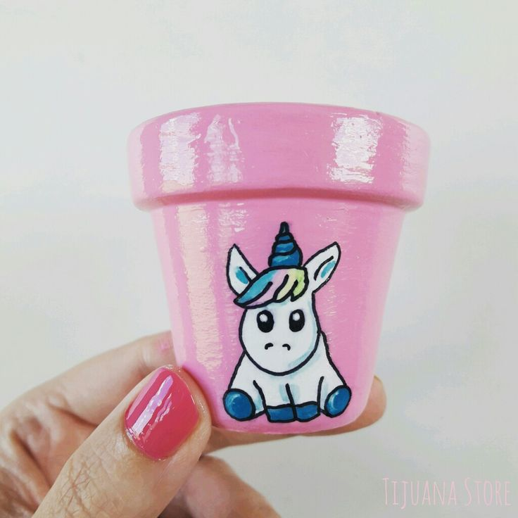 Mini macetita unicornio mágico  macetas pintadas by Tijuana Store ❤