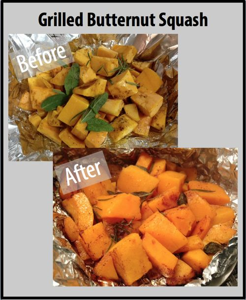 On a large piece of tinfoil, spread out cubed butternut squash (you can buy it already cut up at Trader Joe's), drizzle olive oil over the squash, sprinkle with a little salt, pepper and cinnamon and toss in fresh rosemary and sage. Next, wrap the tinfoil shut over the top of the mixture. Put this on the grill for about 20-30 mins or until the squash becomes soft.