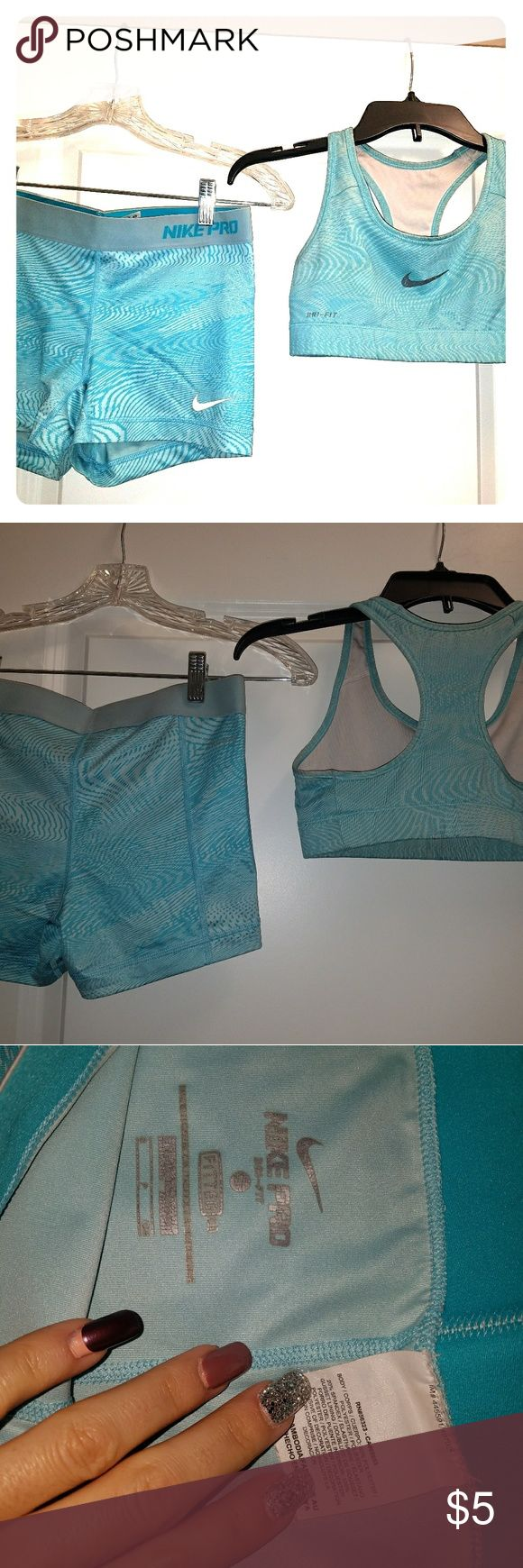 NIKE PRO Sports Bra & Matching Shorts Set NIKE PRO Sports Bra & Matching Shorts Set Bra Size: XS Bra Color: Teal Bra Condition: Used Shorts Size: S Shorts Color: Teal  Shorts Condition: Used Nike Other
