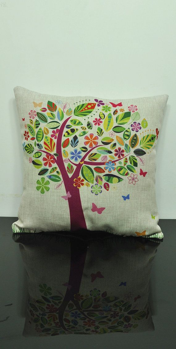 Linen pillow tree Housewares Tree Pillow bird Pillow cover Nature Cushion cover brown Home Decor Throw pillow Decorative pillow on Etsy, $21.06 CAD