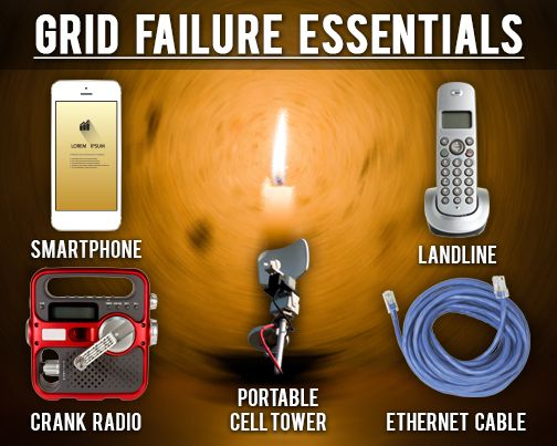 Five items CRITICAL to communication during grid failure. A ham radio would also be helpful: http://www.independentlivingnews.com/preppers/prepping-for-a-power-grid-collapse/5-ways-to-communicate-when-the-power-is-down.stml?utm_source=141102PREPPERSPIN&keycode=141102PREPPERSPIN