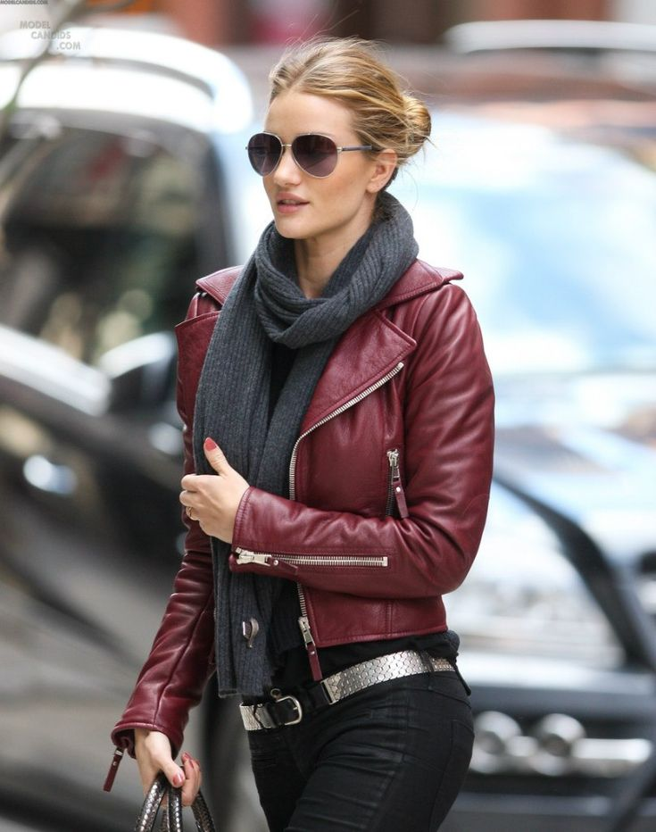casualFashion, Red Leather Jackets, Clothing, Colors, Street Style, Outfit, Scarves, Black Jeans, Burgundy