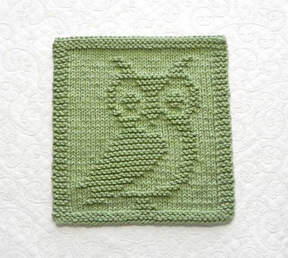 OWL Knit Dishcloth - Hand Knitted Unique Design - Sage ...
