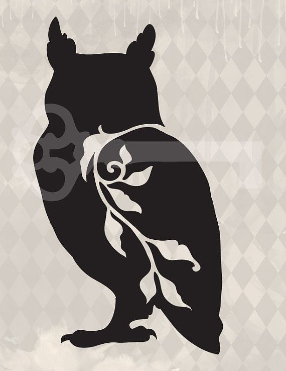 filigree owl original illustration digital download: Image No.417, Commercial and Personal Use, image transfer, printable artwork