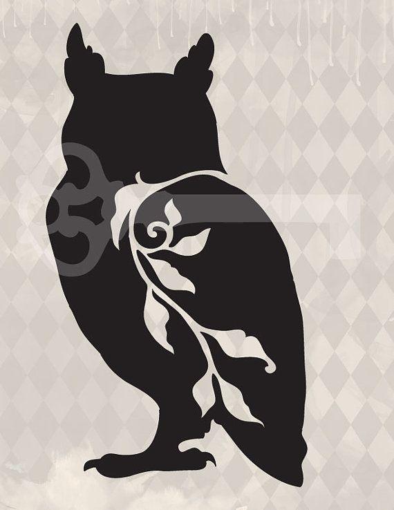filigree owl original illustration digital by TanglesGraphics, $1.00