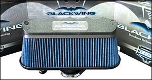 """1997-2004 C5 Covette BlackWing Air Filter 1997-2004 C5 Corvette Blackwing SLP Intake    One of the quickest and best ways to improve the performance of your 1997-2004 C5/Z06 Corvette is to eliminate the restrictive stock air box. This easy-to-install air filter--dubbed the """"Blackwing®"""" for its unique appearance--out-flows the factory setup by as much as 90% and can provide up to 18 additional horsepower."""