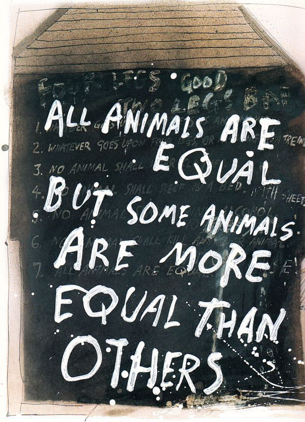 Thinking with Animals: From Aesop to Darwin to YouTube | Brain Pickings    ///  Illustration by Ralph Steadman for a rare edition of Orwell's 'Animal Farm.'