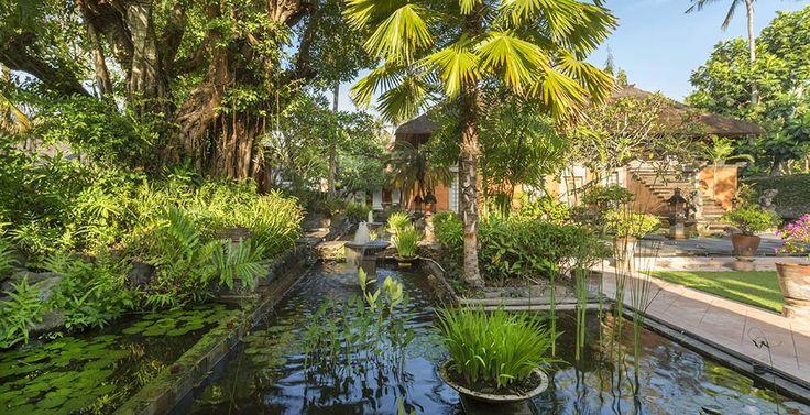 Villa Batujimbar-Entrance water garden at dawn