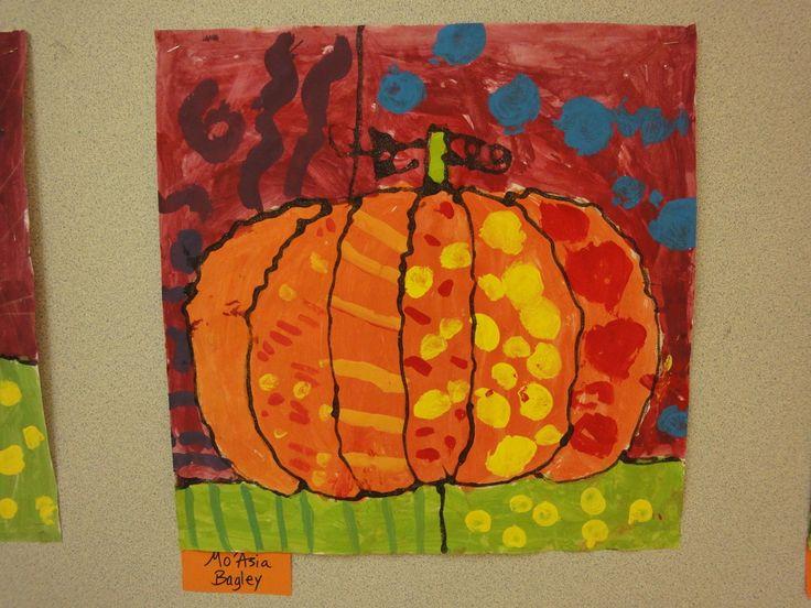 First Grade Art - art@FVES Britton Inspired Pumpkins