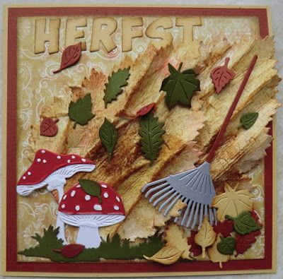 Card by DT member Hanny with Creatables Mushrooms (LR0372), Garden Rake (LR0372), Tiny's Tree & Leaf (LR0375), Tiny's Grass (LR0360) and Collectables Alphabet (COL1380) by Marianne Design