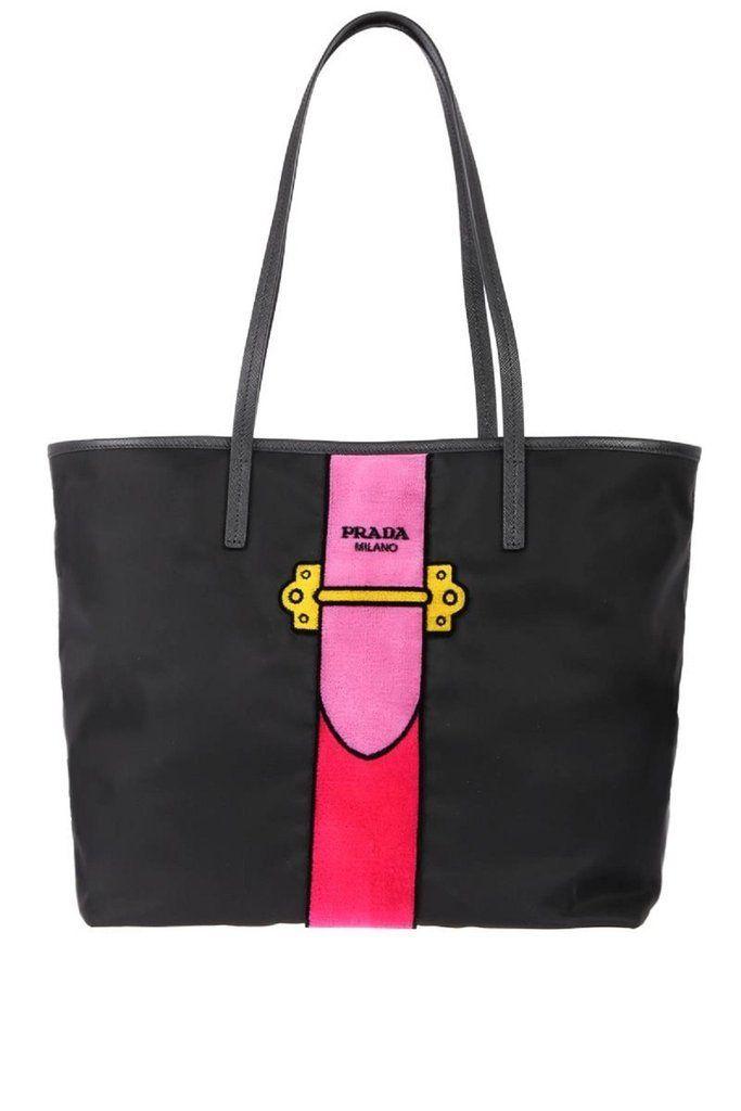 eb5dda5206ca Prada Womens Black Tessuto Ricamo Shopping Tote Shoulder Bag Messenger Bag  with Pink Velvet Accent Line