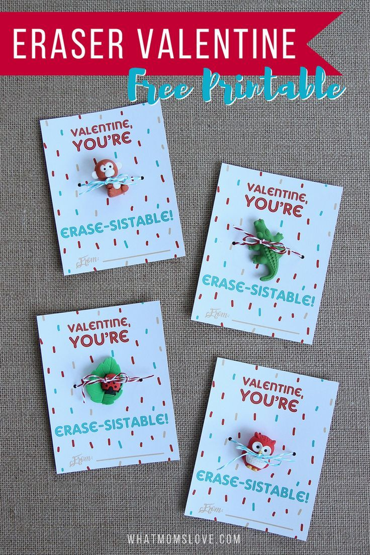 Cute No Candy Valentine For Kids | Free Printable Valentines Day Card | Fun Valentines for your child to hand out in their school classroom - download at http://whatmomslove.com