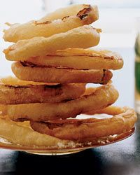 """Crispy Onion Rings: """"There's nothing better than a simple tempura of a primo vegetable,"""" states Peter Hoffman. For this sensational version, he coats thick onion rings in an ultralight batter and quickly fries them. Hoffman says that any vegetable that slices nicely, like delicata squash, fennel or zucchini, would be great here, as long as it """"takes to the batter""""—meaning the batter stays on."""