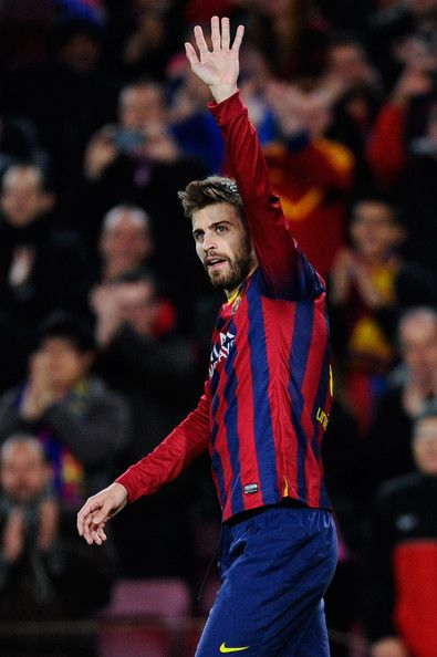 Gerard Pique of FC Barcelona celebrates after scoring the opening goal during the La Liga match between FC Barcelona and Malaga CF at Camp Nou on January 26, 2014 in Barcelona, Catalonia.