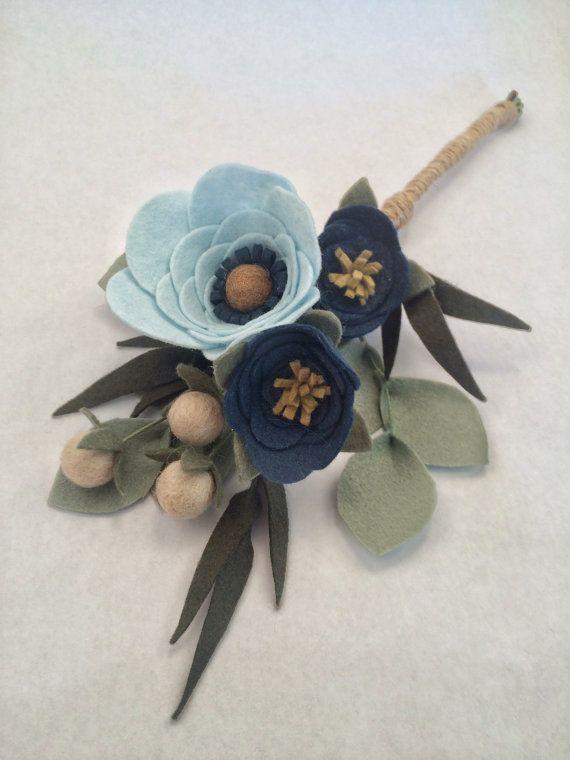 "Bouquet di fiori di feltro | ""Rose blu"" | Composizione floreale"