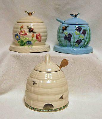 3 ~ Vintage HONEY POTS ~ PHALTZGRAFF ~ Honey Bee ~ Blue ~ White