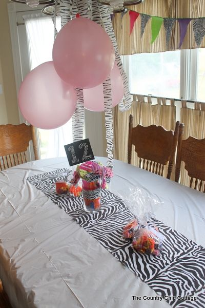 Preteen Zebra Themed Birthday Party ~Cute DIY decorations! * THE COUNTRY CHIC COTTAGE