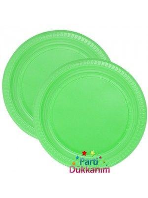 Yeşil Plastik Tabak Lüks (25 adet)