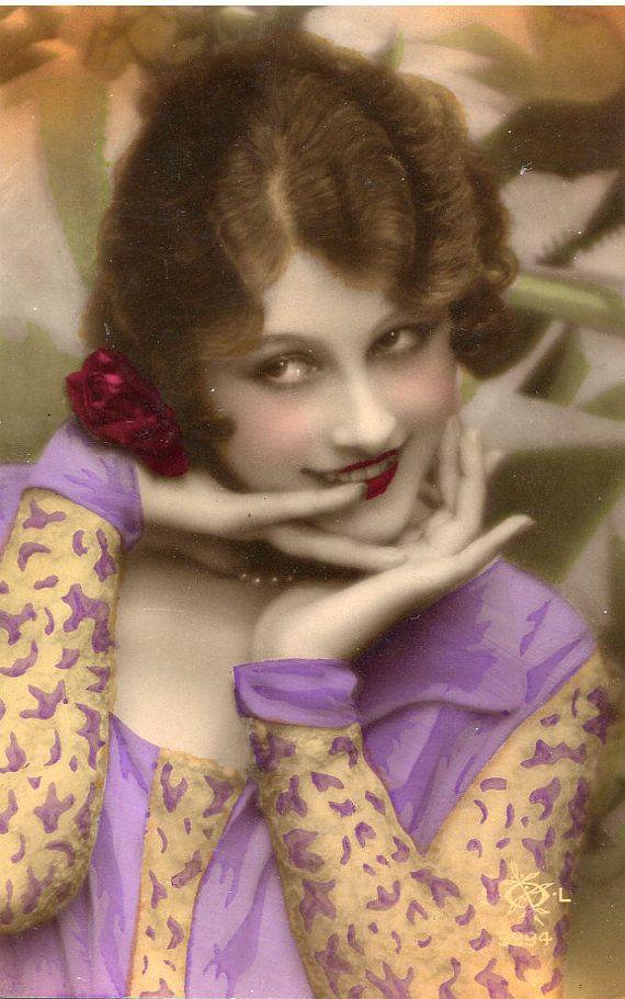 Original French vintage tinted real photo postcard